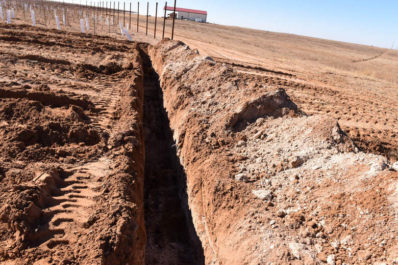Preparation for Planting Grapevines - Irrigation Trench
