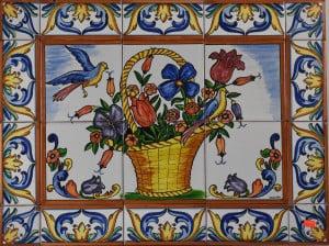 725 Flower Basket Ceramic Tile Mural