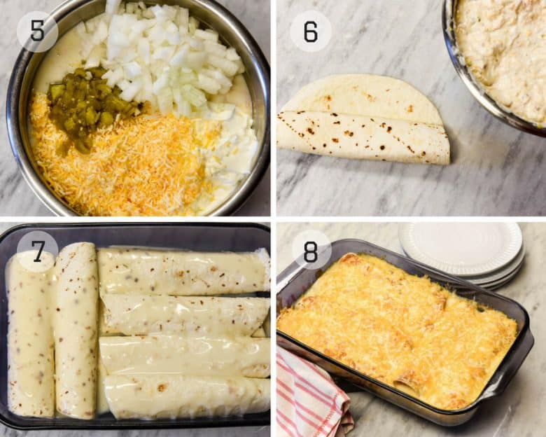 Photo tutorial for the steps of making the stuffing and rolling chicken enchiladas