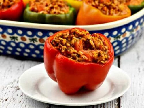 A close up of easy stuffed bell peppers stuffed with Italian seasonings