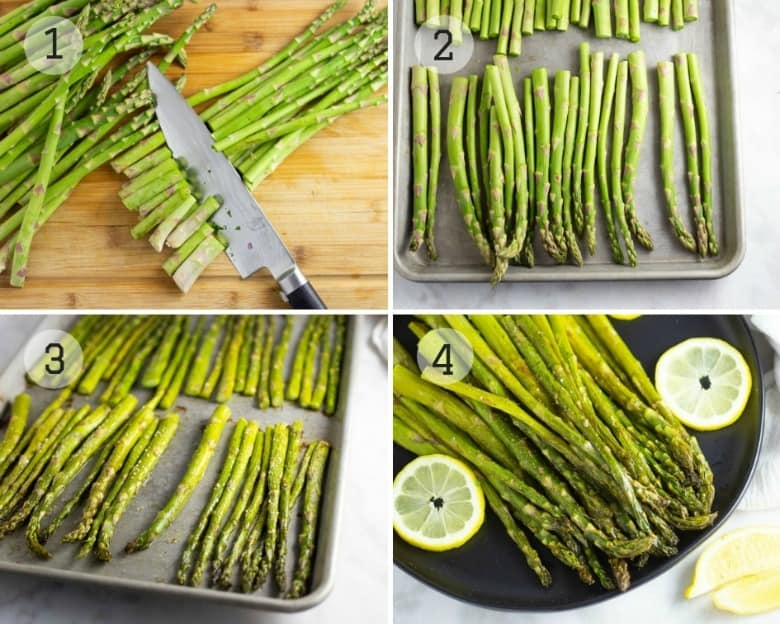 Steps shown to make oven roasted asparagus.