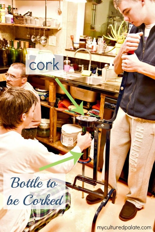 Bottling Montepulciano Wine - Corking the Wine Bottle