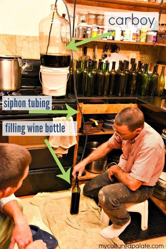 Bottling Montepulciano Wine - Filling the Wine Bottle