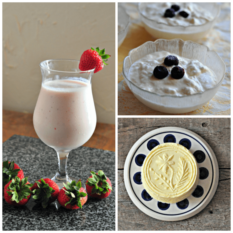 Simple Cheesemaking Collage - Smoothie, Yogurt, Butter
