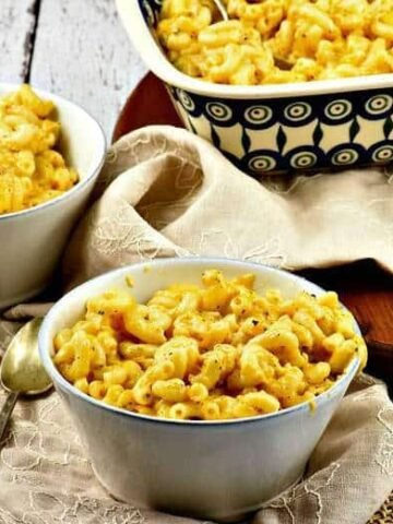 Creamy Macaroni and Cheese in a small white bowl