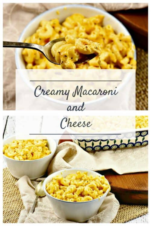 Creamy Macaroni and Cheese shown on table in bowls collage with one pic showing it on a spoon