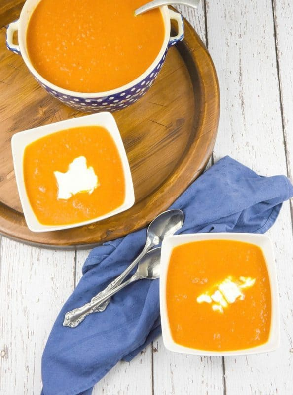 Moroccan Carrot Soup Recipe shown in bowls