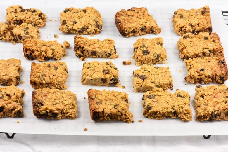 Oats and Honey homemade Granola Bars on a tray