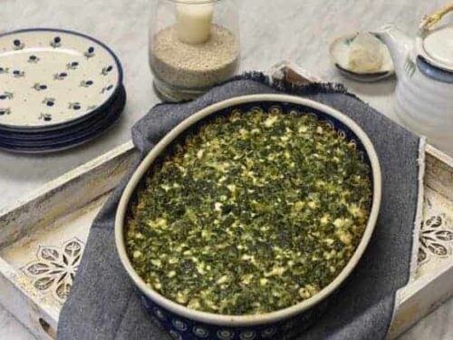 Crustless Spinach Quiche - Spinach Quiche Recipe on table