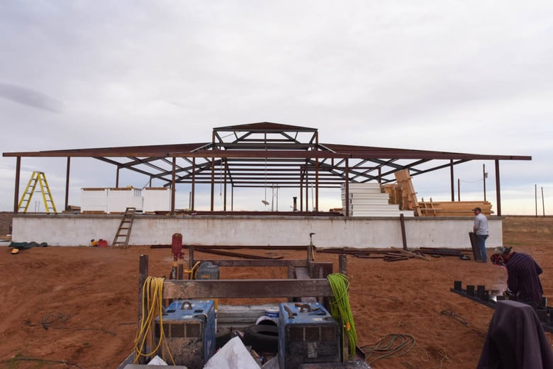 ICF Vineyard House - steel roof support