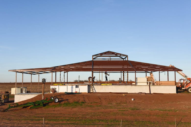 ICF Vineyard House - steel frame for roof