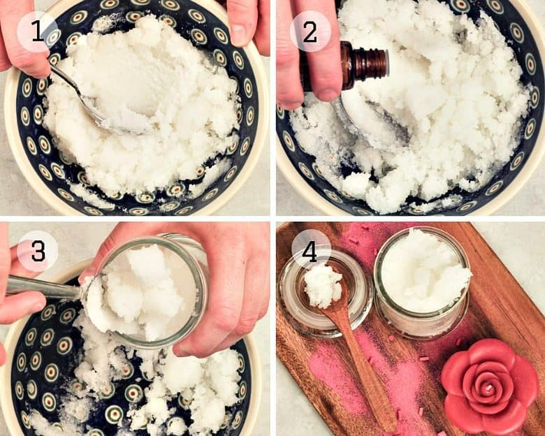 Steps to making Homemade Peppermint Sugar Scrub Recipe shown with finished homemade sugar scrub in a glass jar.