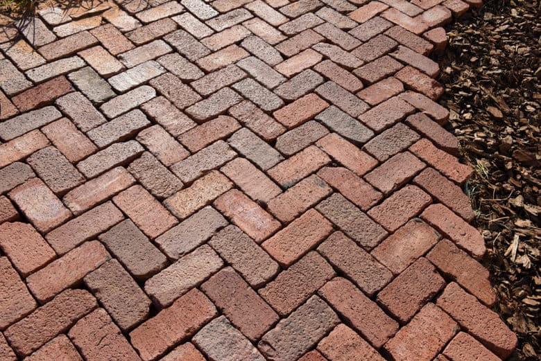 DIY Brick Patio - Herringbone Pattern