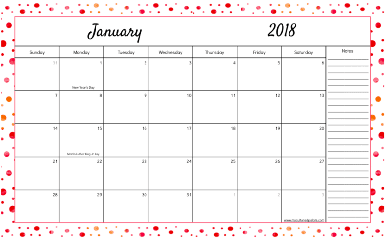 Daily and Monthly Pages - 2018 Daily Pages Month Layout PNG