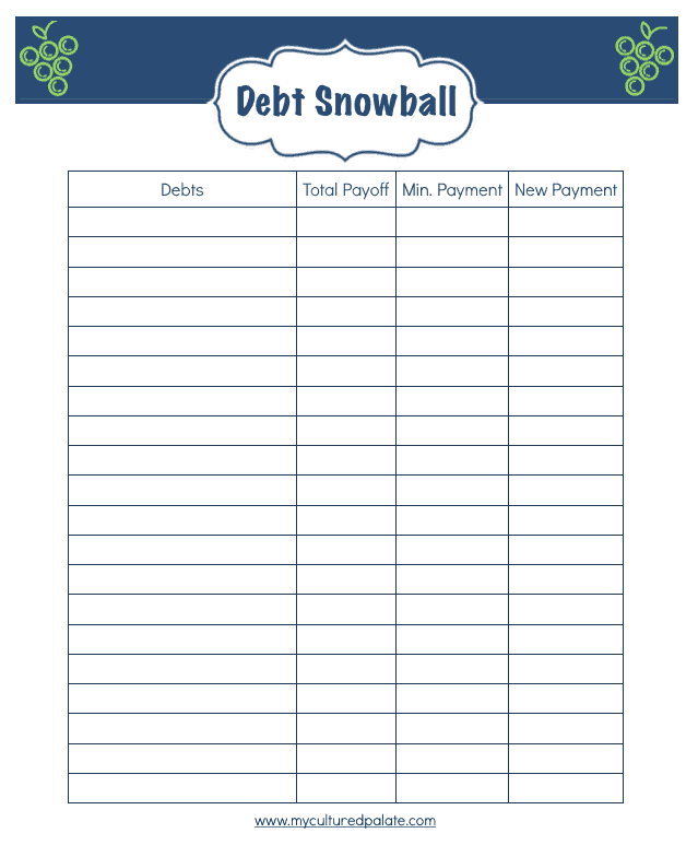 Daily Life Planner - free printables - Debt Snowball