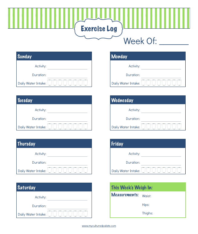 Daily Life Planner - free printables - Exercise Log