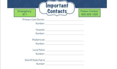 Daily Life Planner – Important Contacts