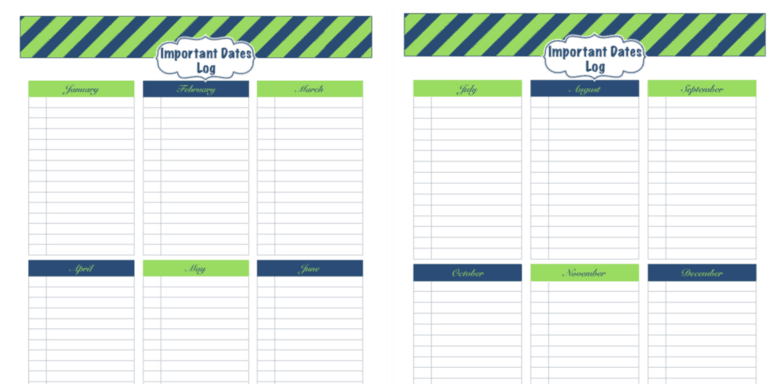 Daily Life Planner Free Printables - Important Dates Log