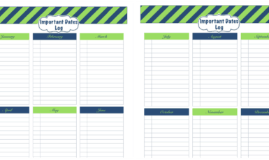 Daily Life Planner – Important Dates Log