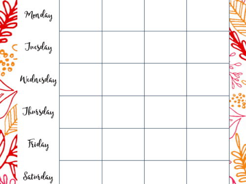 Weekly Meal planning page shown from Life Planner by Cultured Palate