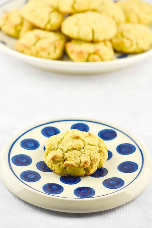 Coconut Flour Biscuits shown on polka dot plate