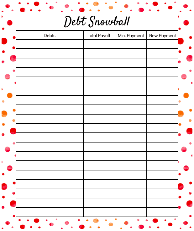Zany image throughout debt snowball printable