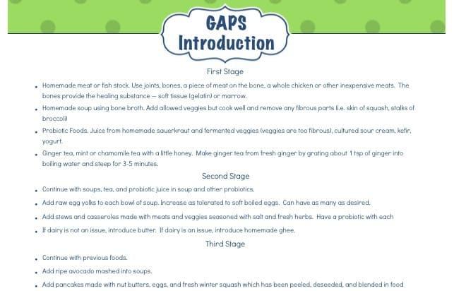 Gaps Stage  Food List