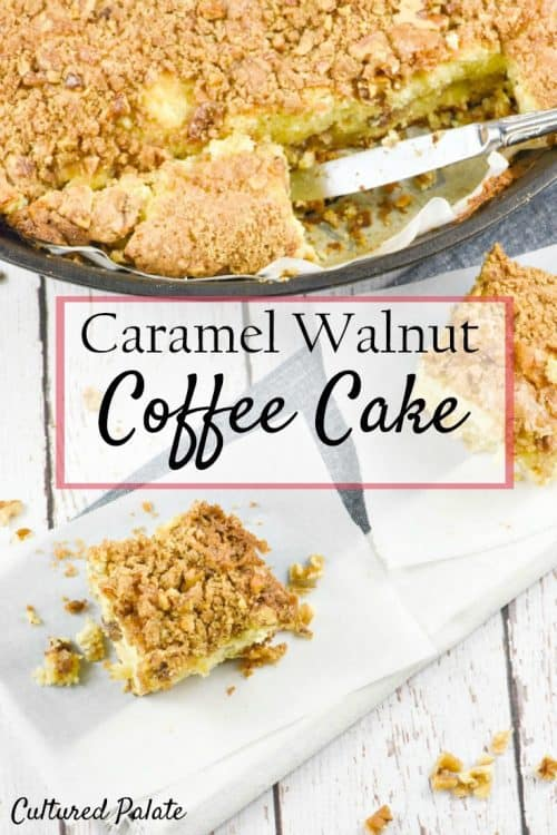 Caramel Walnut Coffee Cake shown cut with title