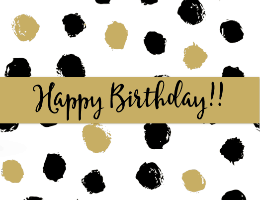 Free Printable Happy Birthday Cards - Black and Gold Dots