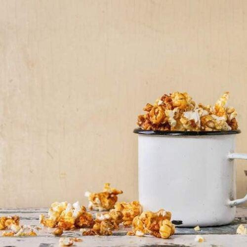 A photo of Homemade Caramel Corn in a mug