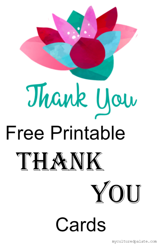 image relating to Free Printable Thank You identify Cost-free Printable Thank Oneself Playing cards Cultured Palate