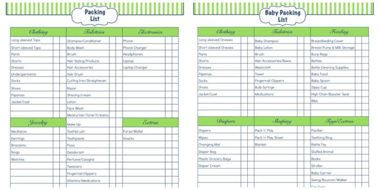 Daily Life Printables - Packing List