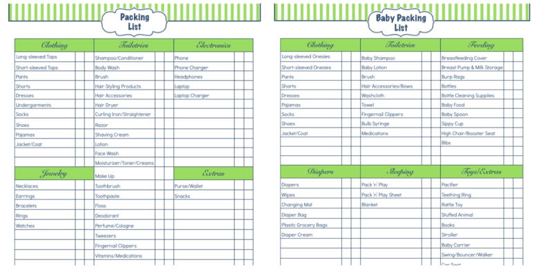 Daily Life Planner – Packing List