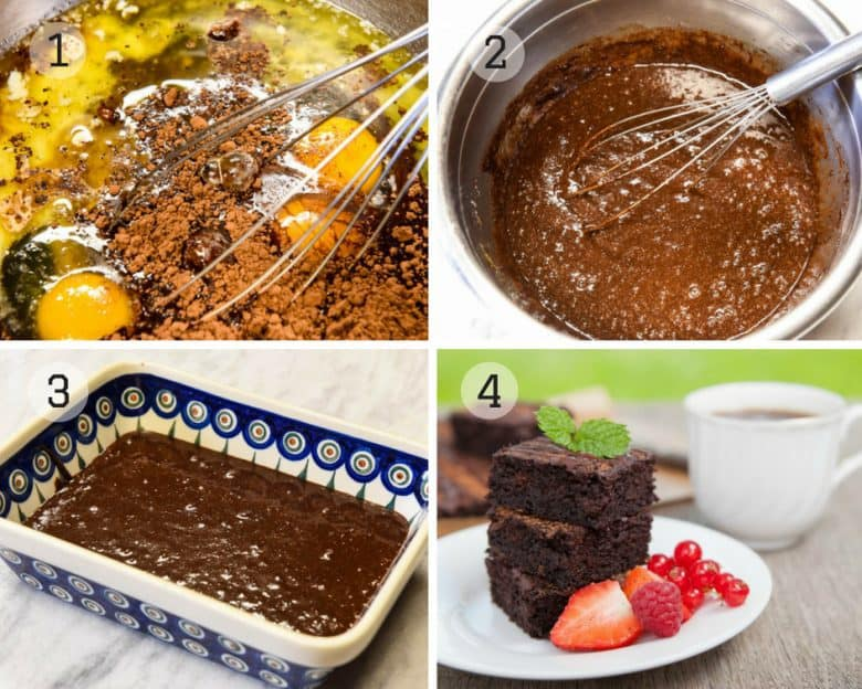 Steps shown to make Coconut Flour Brownies, Paleo Brownies, Gluten Free Brownies