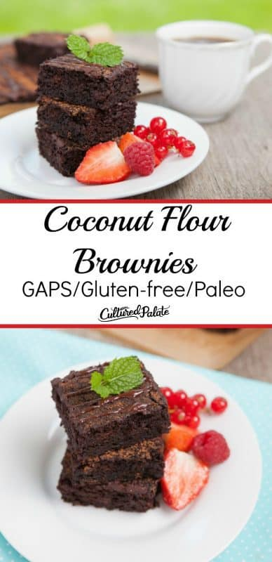 Collage image of Coconut Flour Brownies on white plates and strawberries on the side with text overlay