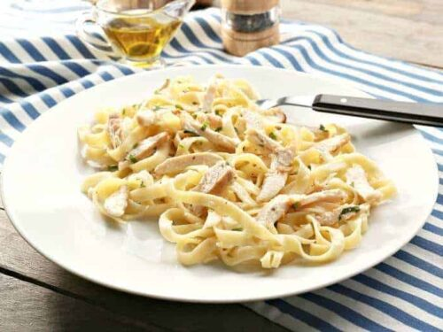 Easy Chicken Alfredo on a white plate