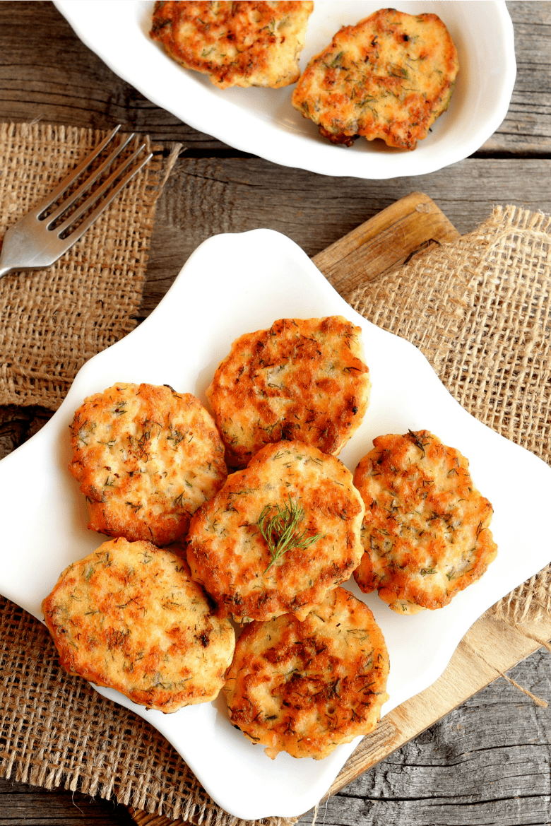 Baked Salmon Croquettes shown on platter