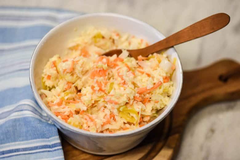 Creamy Coleslaw - Easy Coleslaw Recipe shown in a bowl