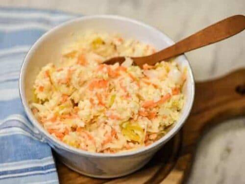 Creamy Coleslaw - Easy Coleslaw Recipe closeup