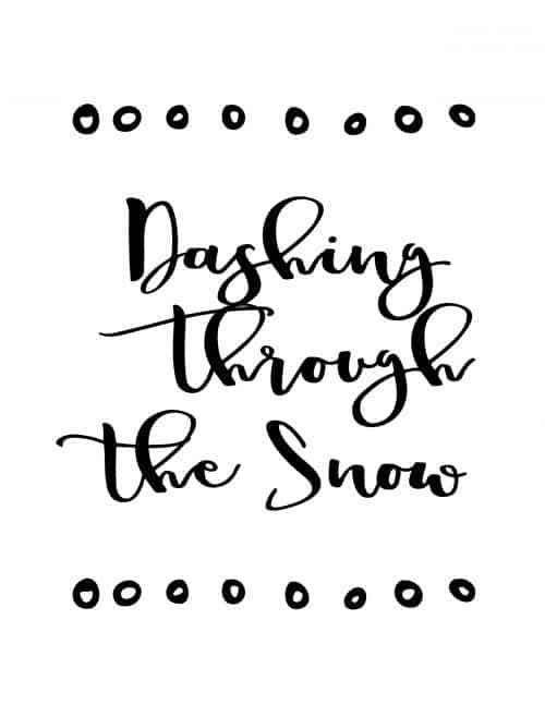dashing through the snow free printable christmas wall art