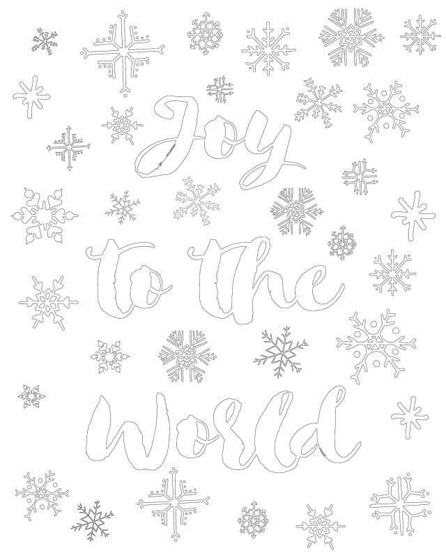 joy to the world christmas coloring page printable