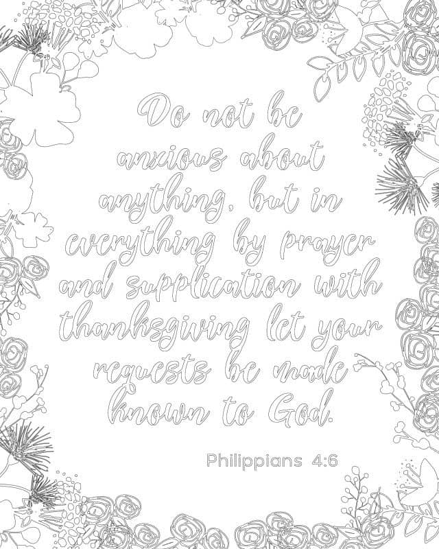 Bible Coloring Sheets Phil 4:6