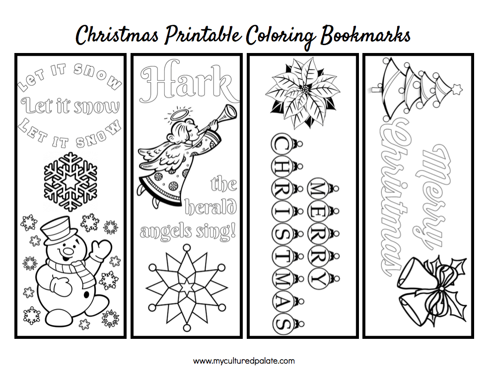 Free Christmas Bookmarks to Color - Cultured Palate