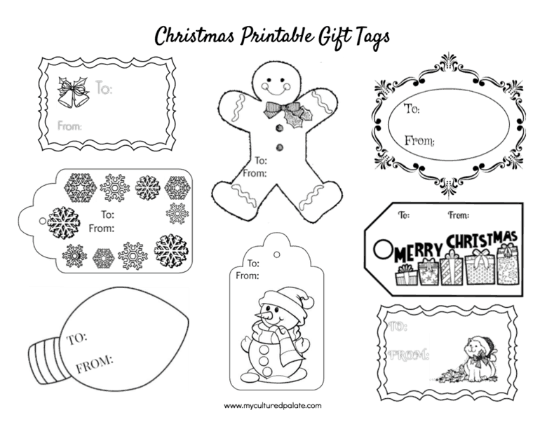 Christmas Gift Tags to Color