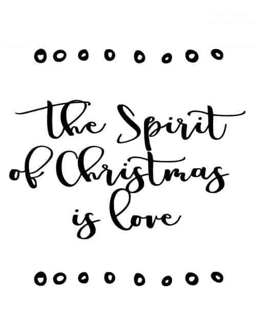 the spirit of christmas is love free printable christmas wall art