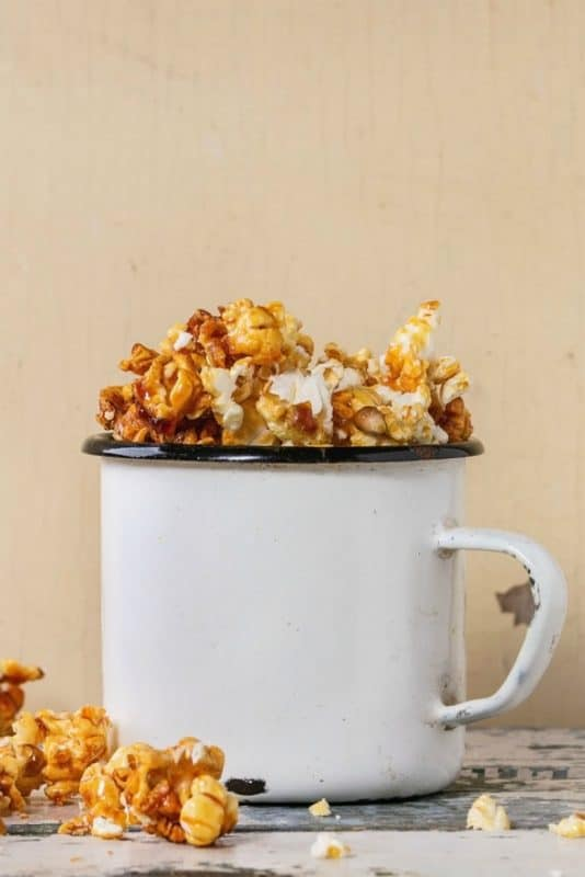 Caramel Corn shown in cup from the Caramel Corn recipe