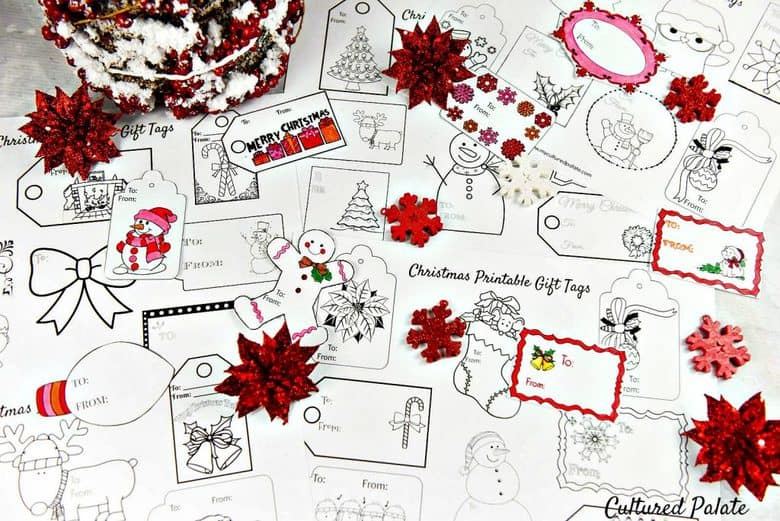 Free Christmas Gift Tags to Color