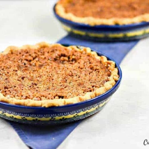 Easy Pie Crust Recipe shown with pecan pie