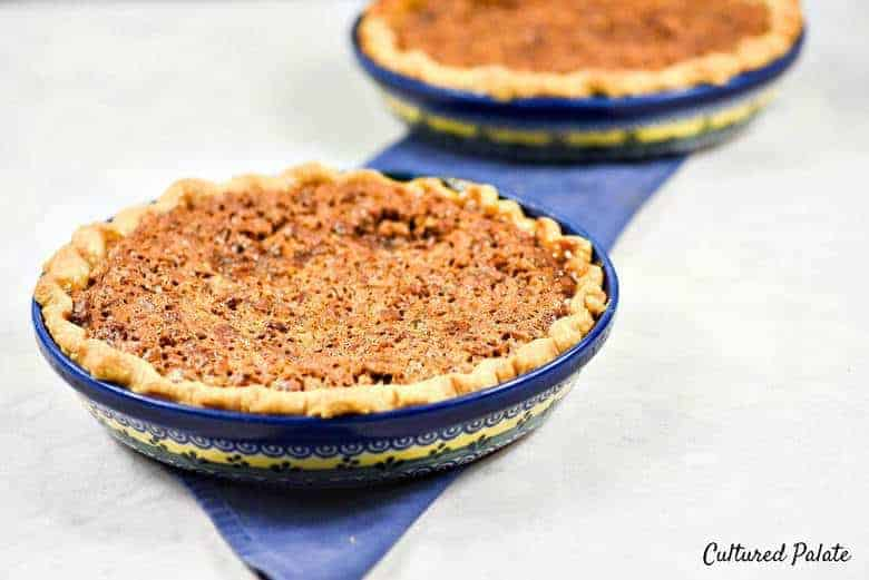 Photo of an Easy Pie Crust Recipe with a pie filling in a blue dish