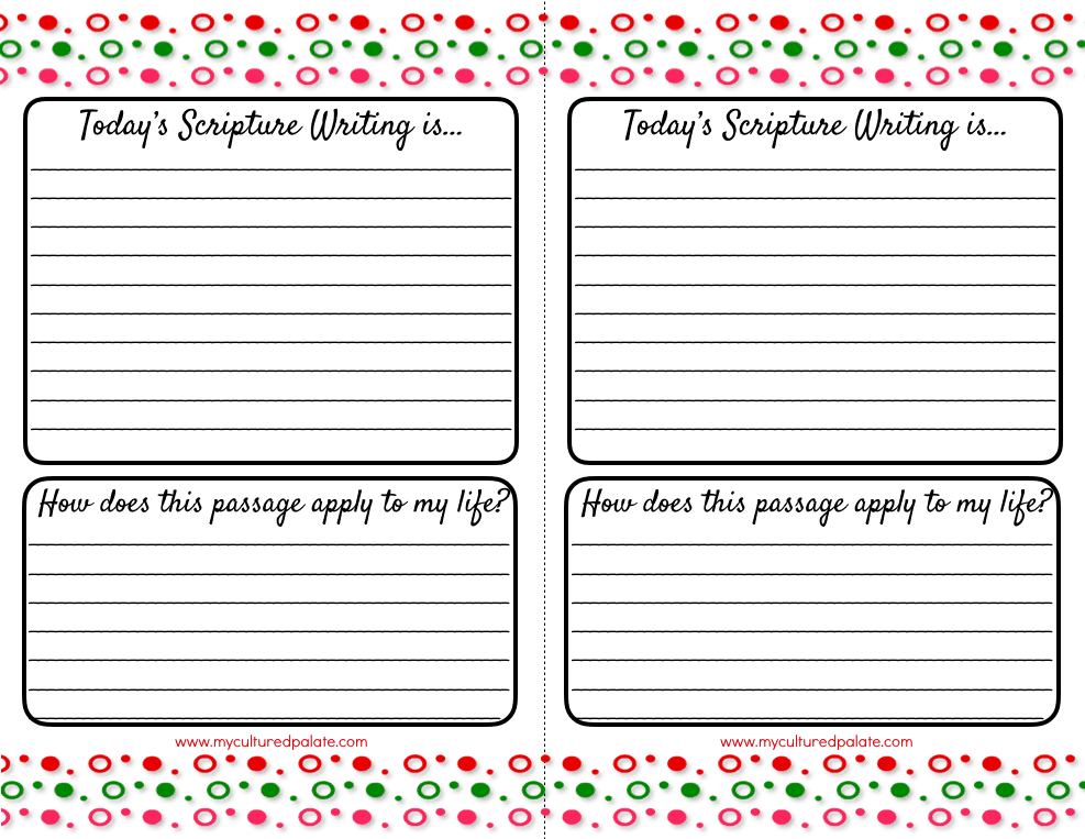 Printable paper for scripture writing